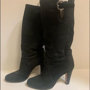 Slouchy leather Prada boots